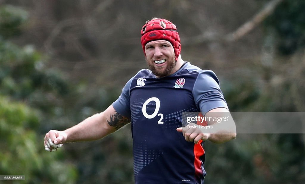 James Haskell looks on during the England training session held at Pennyhill Park on March 14, 2017 in Bagshot, England.