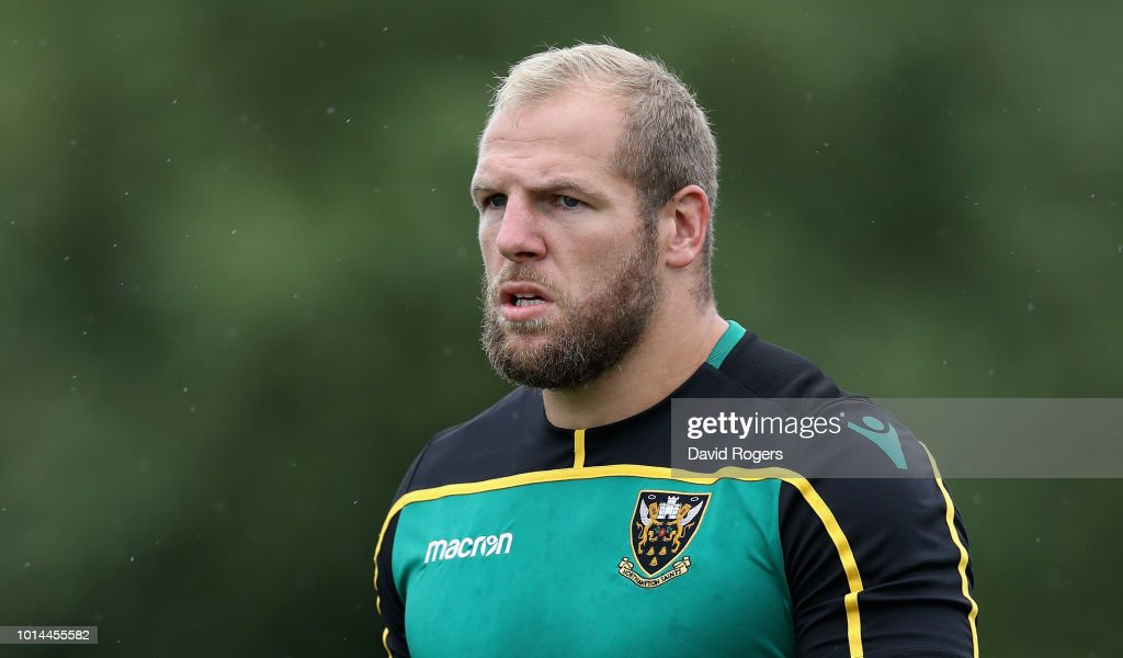 James Haskell looks on during the Northampton Saints training session held at Franklin's Gardens on August 10, 2018 in Northampton, England.