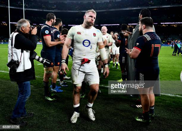 James Haskell of England leaves the pitch after the RBS Six Nations match between England and France at Twickenham Stadium on February 4, 2017 in...