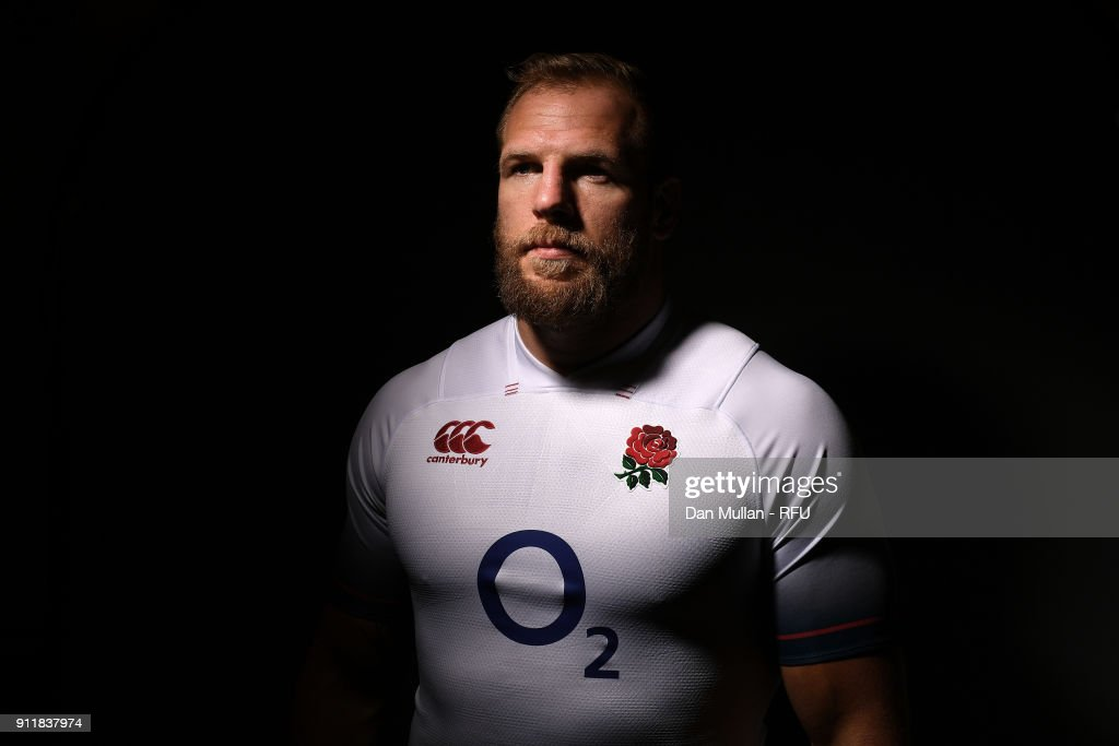 James Haskell of England poses for a portrait during the England Elite Player Squad Photo call at Pennyhill Park on January 29, 2018 in Bagshot, England.