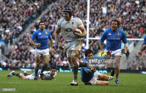 James Haskell of England races clear to score a try during the RBS Six Nations match between England and Italy at Twickenham Stadium in London,...