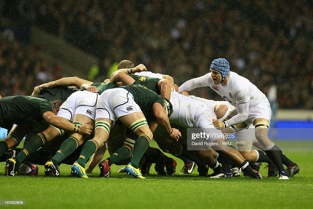 James Haskell of England watches the scrum during the QBE International match between England and South Africa at Twickenham Stadium on November 24, 2012 in London, England.