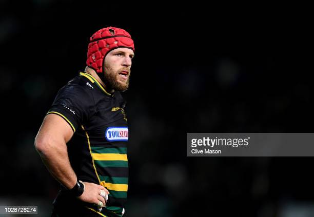 James Haskell of Northampton Saints looks on during the Gallagher Premiership Rugby match between Northampton Saints and Harlequins at Franklin's...