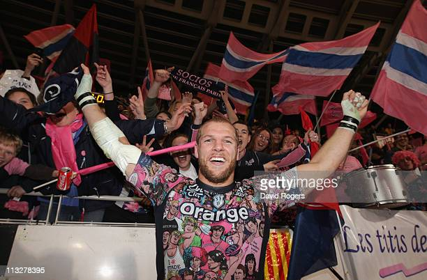 James Haskell, of Stade Francais celebrates after their victory during the Amlin Challenge Cup semi final match between Stade Francais and Clermont...