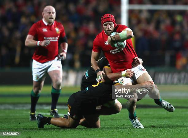 James Haskell of the Lions is tackled during the match between the Chiefs and the British Irish Lions at Waikato Stadium on June 20 2017 in Hamilton...