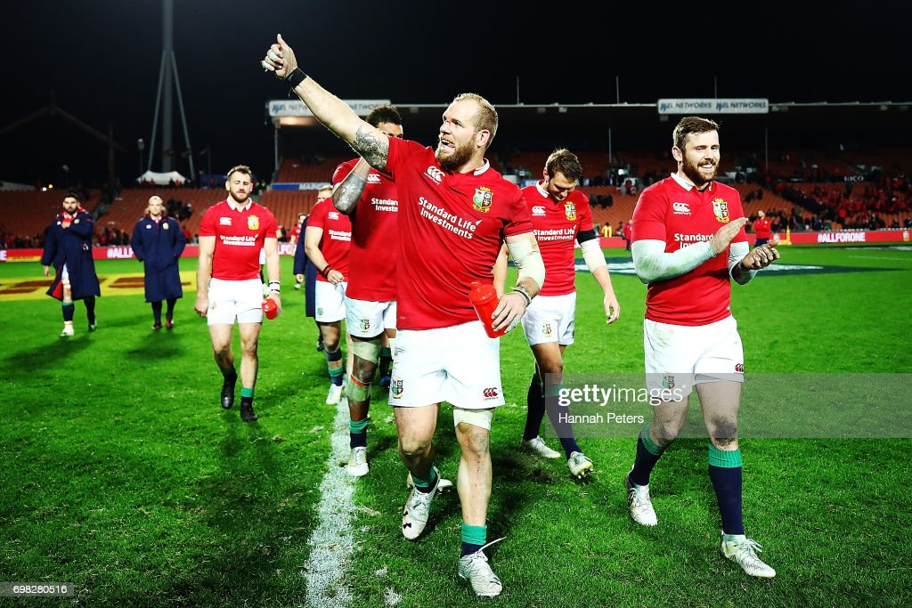 James Haskell of the Lions thanks the crowd after winning the match between the Chiefs and the British & Irish Lions at Waikato Stadium on June 20, 2017 in Hamilton, New Zealand.