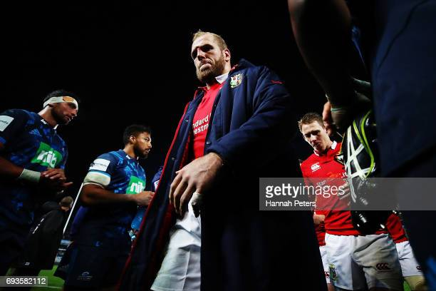 James Haskell of the Lions walks off after losing the match between the Auckland Blues and the British & Irish Lions at Eden Park on June 7, 2017 in...