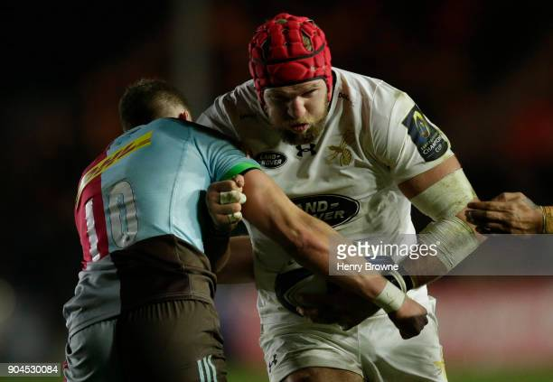 James Haskell of Wasps and James Lang of Harlequins during the European Rugby Champions Cup match between Harlequins and Wasps at Twickenham Stoop on...