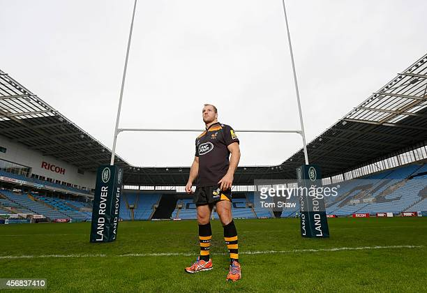 James Haskell of Wasps poses for a picture under the posts during the announcement of a new club sponsor Land Rover and a move to the Ricoh Arena in...