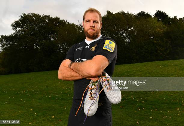 James Haskell of Wasps poses with his Rainbow Laces during the launch of the Premiership Rugby Rainbow Laces Campaign at Broadstreet RFC on October...
