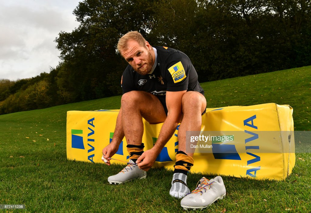 James Haskell of Wasps poses with his Rainbow Laces during the launch of the Premiership Rugby Rainbow Laces Campaign at Broadstreet RFC on October 24, 2017 in Coventry, England.