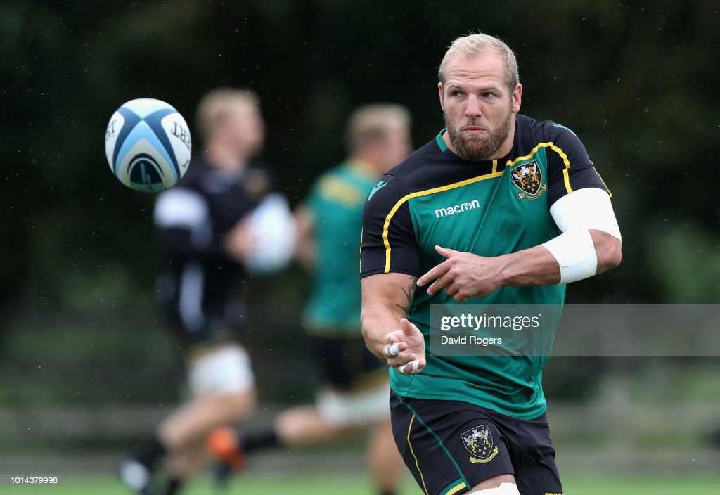 James Haskell passes the ball during the Northampton Saints training session held at Franklin's Gardens on August 10, 2018 in Northampton, England.