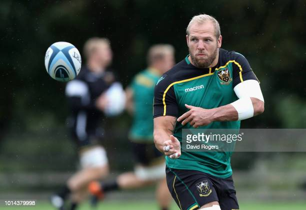 James Haskell passes the ball during the Northampton Saints training session held at Franklin's Gardens on August 10 2018 in Northampton England