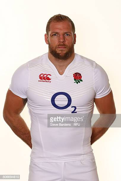 James Haskell poses during the England EPS Six Nations Squad Portrait session at Pennyhill Park on January 25 2016 in Bagshot England
