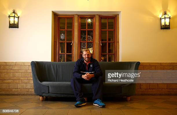 James Haskell poses for a portrait after an England Rugby training session at Pennyhill Park on January 26 2016 in Bagshot England