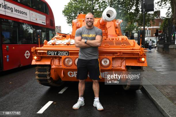 James Haskell poses with the Grenade® tank on August 05, 2019 in London, England.