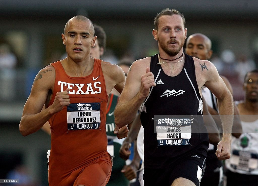 James Hatch (R) and Jacob Hernandez (L) compete in the men's 800 meter run during day one of the U.S. Track and Field Olympic Trials at Hayward Field on June 27, 2008 in Eugene, Oregon.
