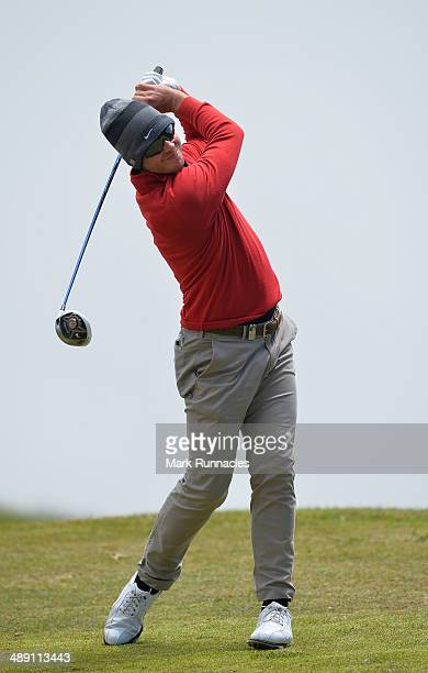 James Heath of England plays his tee shot at the 5th during the Madeira Islands Open - Portugal - BPI at Club de Golf do Santo da Serra on May 10,...