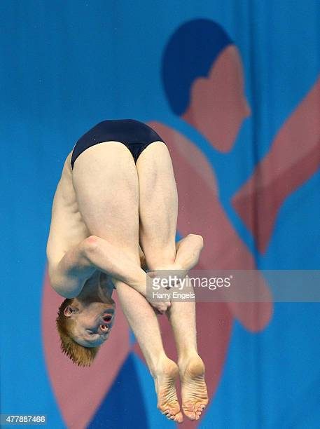 James Heatly of Great Britain competes during the Men's Diving 3m Springboard final during day eight of the Baku 2015 European Games at the Baku...