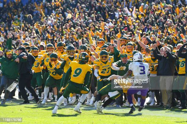 James Hendricks of the North Dakota State Bison intercepts a pass in the closing seconds of the game to defeat the James Madison Dukes during the...