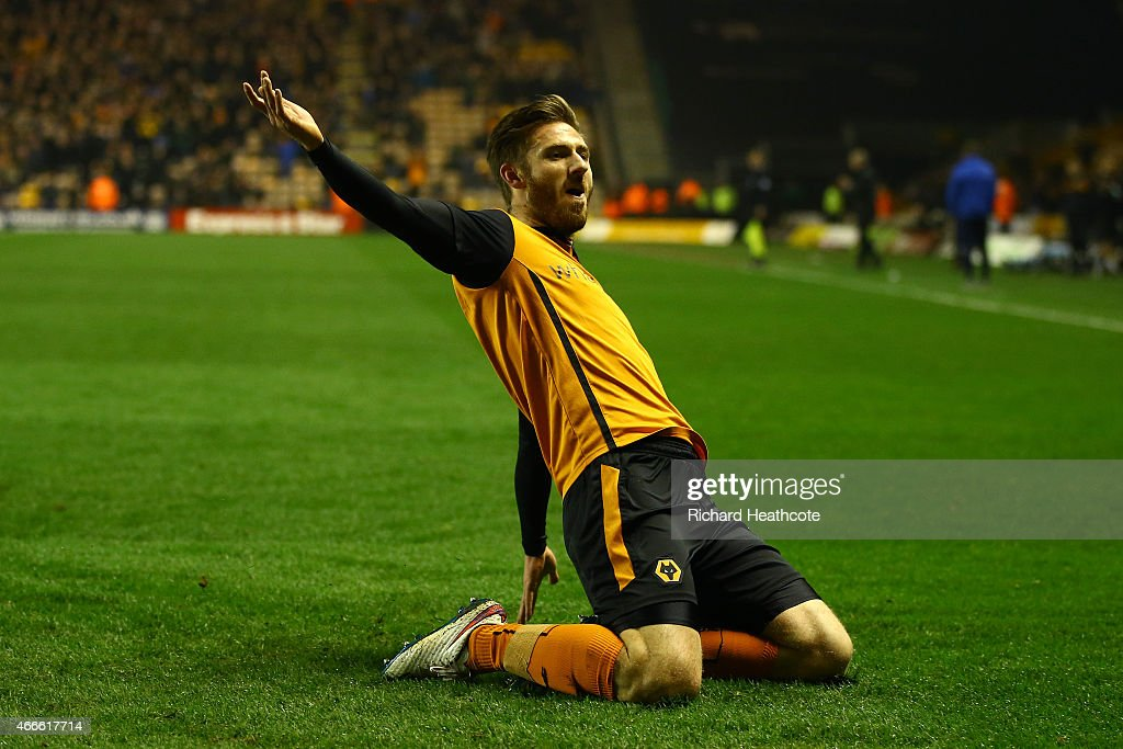 James Henry of Wolves celebrates scoring the third goal during the Sky Bet Championship match between Wolverhampton Wanderers and Sheffield Wednesday at Molineux on March 17, 2015 in Wolverhampton, England.