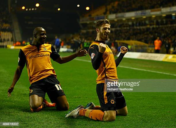 James Henry of Wolves celebrates scoring the third goal during the Sky Bet Championship match between Wolverhampton Wanderers and Sheffield Wednesday...