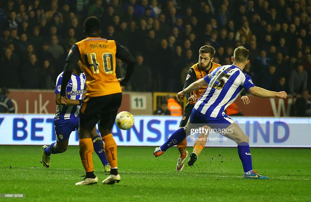 James Henry of Wolves scores the third goal during the Sky Bet Championship match between Wolverhampton Wanderers and Sheffield Wednesday at Molineux on March 17, 2015 in Wolverhampton, England.