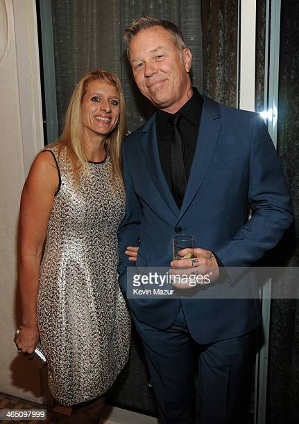 James Hetfield and Francesca Hetfield attend the 56th annual GRAMMY Awards PreGRAMMY Gala and Salute to Industry Icons honoring Lucian Grainge at The...