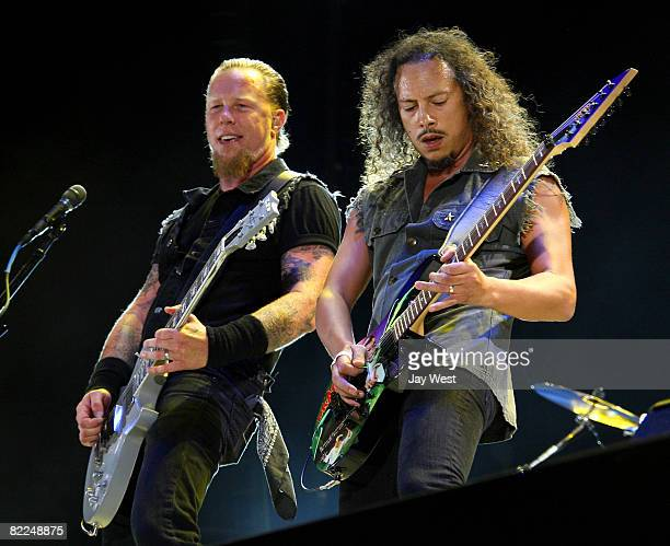 James Hetfield and Kirk Hammet of Metallica performs at Ozzfest 2008 at the Pizza Hut Park on August 9, 2008 in Frisco, Texas.