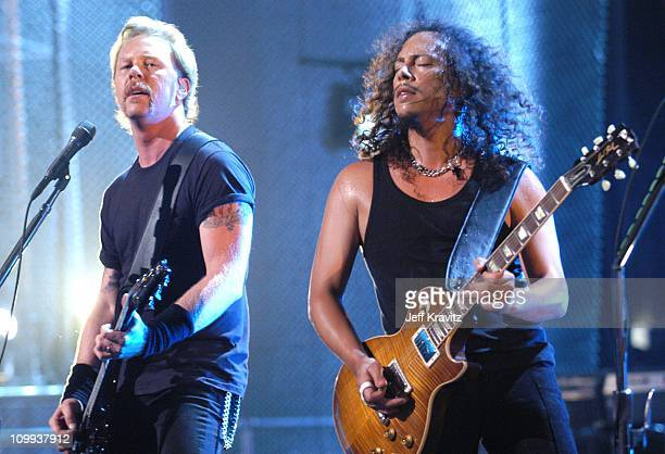 James Hetfield and Kirk Hammett during MTV Icon - Metallica - Show at Universal Studios Stage 12 in Universal City, CA, United States.