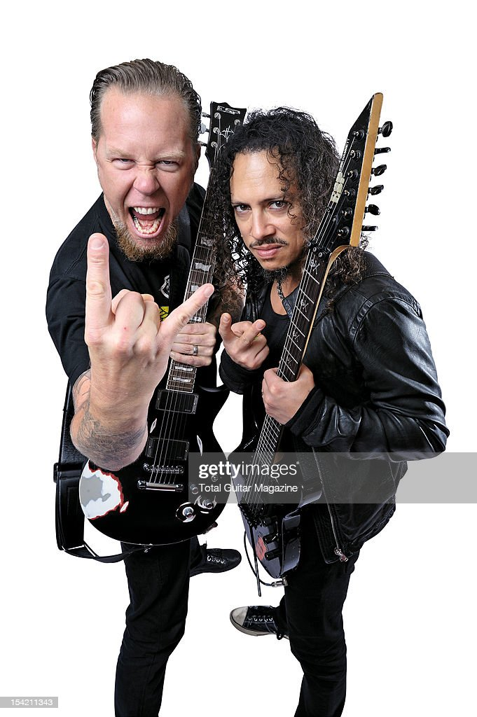 This image has been digitally manipulated) James Hetfield (L) and Kirk Hammett of American heavy metal group Metallica, taken on August 24, 2008.