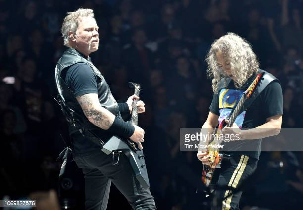 James Hetfield and Kirk Hammett of Metallica performs during the band's Worldwired Tour at Golden 1 Center on December 7 2018 in Sacramento California