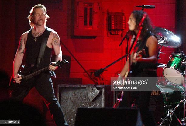 James Hetfield and Kirk Hammett of Metallica performs St Anger