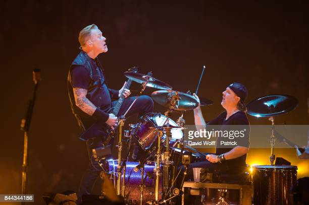 James Hetfield and Lars Ulrich from Metallica perform at AccorHotels Arena on September 8 2017 in Paris France