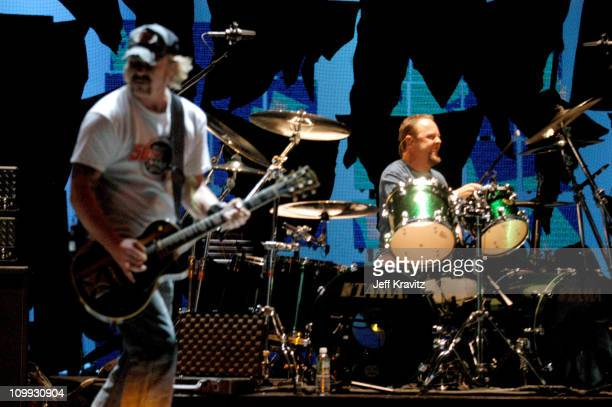 James Hetfield and Lars Ulrich of Metallica during 2003 MTV Video Music Awards Rehearsals Day Two at Rockefeller Plaza and Radio City Music Hall in...