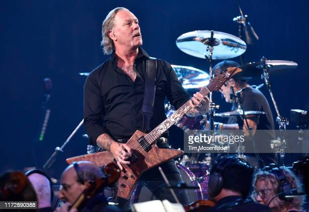 James Hetfield and Lars Ulrich of Metallica perform during the SM2 concerts at the opening night at Chase Center on September 06 2019 in San...