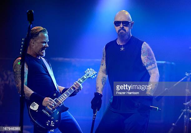 James Hetfield and Rob Halford perform at the 5th Annual Revolver Golden Gods Award Show at Club Nokia on May 2 2013 in Los Angeles California