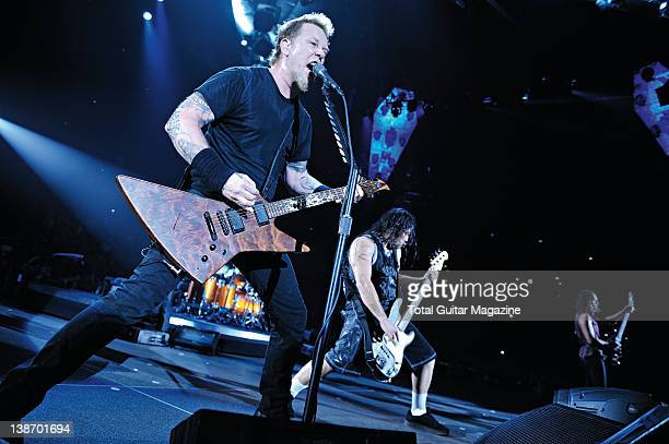 James Hetfield and Robert Trujillo of American heavy metal band Metallica live on stage at the MEN Arena February 26 2009