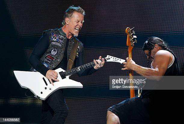 James Hetfield and Robert Trujillo of Metallica perform during their 20th anniversary tour of the Black Album at Usce Park on May 8 2012 in Belgrade...