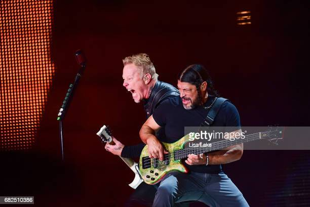 James Hetfield and Robert Trujillo of Metallica perform live on stage at Lincoln Financial Field on May 12 2017 in Philadelphia Pennsylvania