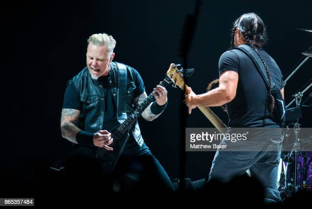 James Hetfield and Robert Trujillo of Metallica perform live on stage at The O2 Arena on October 22 2017 in London England