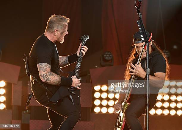 James Hetfield and Robert Trujillo of Metallica performs onstage at the 2016 Global Citizen Festival In Central Park To End Extreme Poverty By 2030...