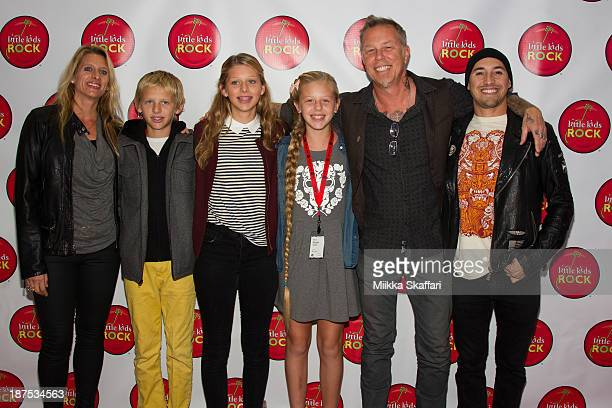 James Hetfield arriving to Little Kids Rock fundraiser in Facebook HQ with his wife Francesca and children Cali Castor and Marcella on November 9...