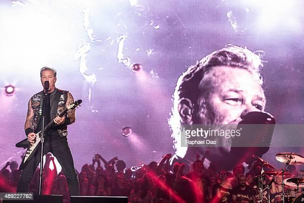 James Hetfield from Metallica performs at 2015 Rock in Rio on September 19 2015 in Rio de Janeiro Brazil