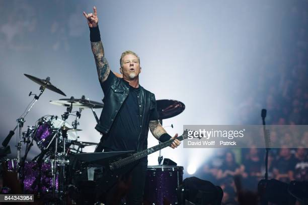 James Hetfield from Metallica performs at AccorHotels Arena on September 8 2017 in Paris France
