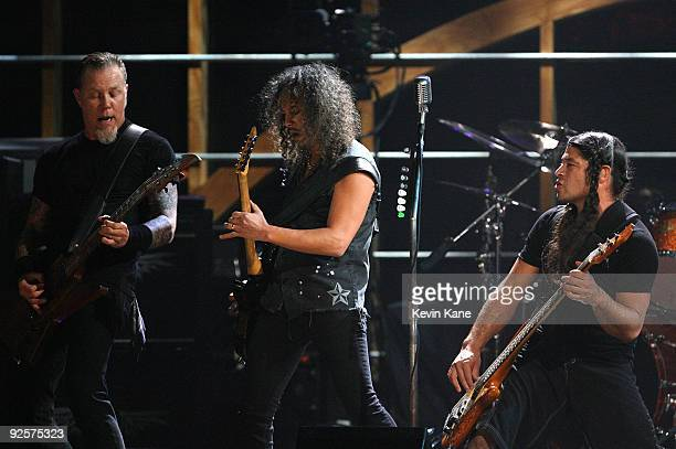 James Hetfield Kirk Hammett and Robert Trujillo of Metallica perform onstage at the 25th Anniversary Rock Roll Hall of Fame Concert at Madison Square...