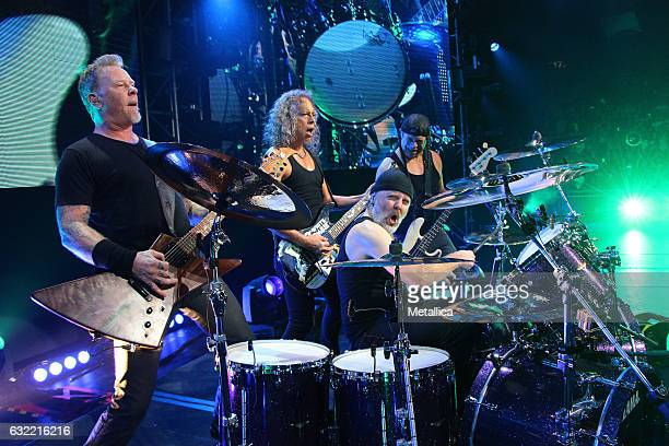 James Hetfield Kirk Hammett Lars Ulrich and Robert Trujillo of Metallica perform at AsiaWorldExpo on January 20 2017 in Hong Kong Hong Kong