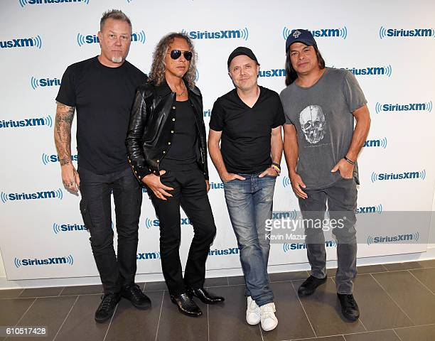 James Hetfield Kirk Hammett Lars Ulrich and Robert Trujillo of Metallica attend SiriusXM's Town Hall with Metallica to air on The Band's SiriusXM...