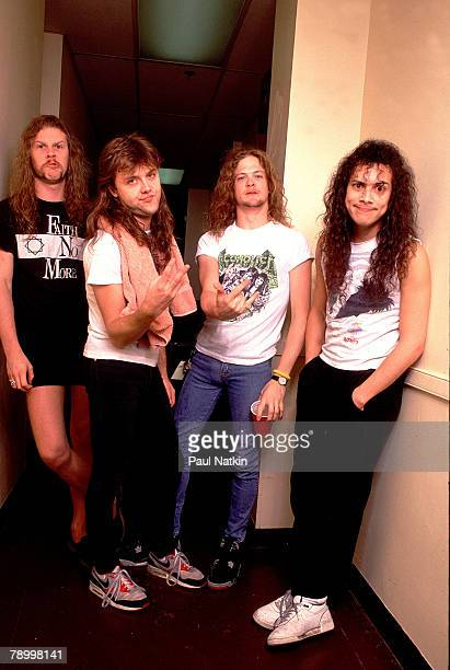 James Hetfield Lars Ulrich Jason Newsted and Kirk Hammett of Metallica on 8/6/89 in Chicago Il