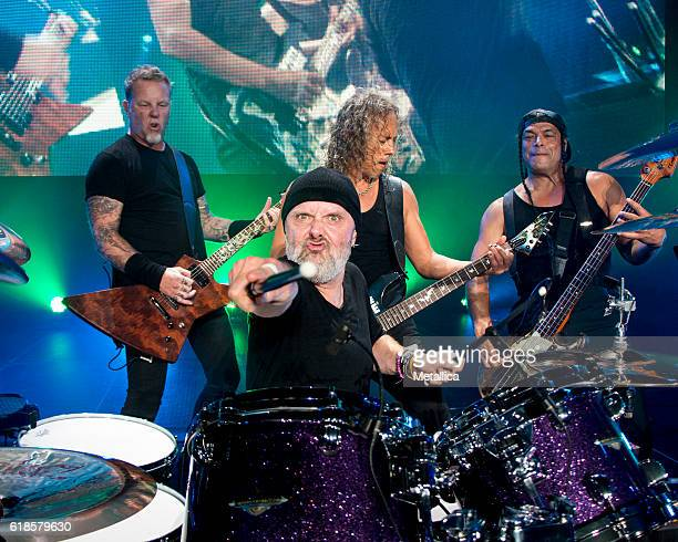 James Hetfield Lars Ulrich Kirk Hammett and Robert Trujillo of Metallica perform at Coliseo de Puerto Rico on October 26 2016 in Hato Rey Puerto Rico